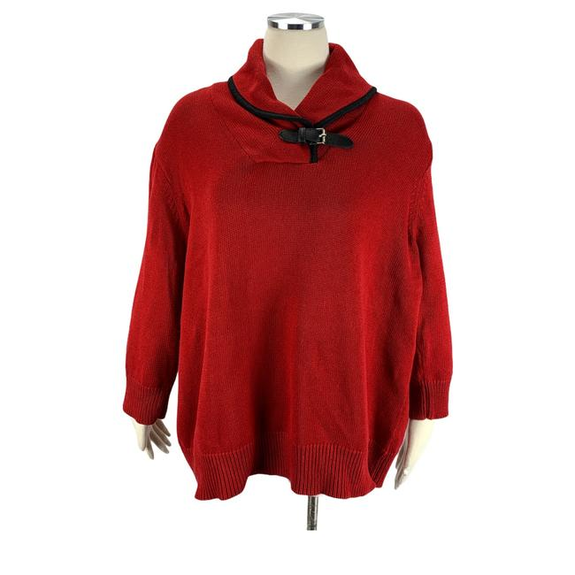 Item - Cowl Neck with Buckle Red Sweater