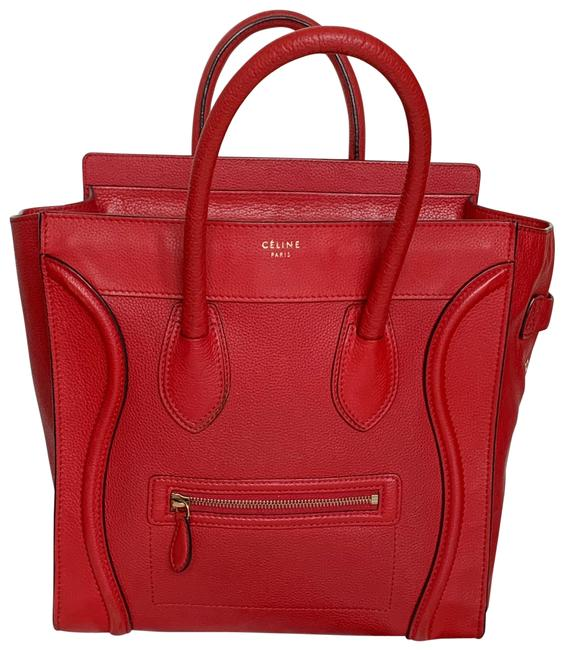 Item - Luggage Micro In Pebbled Red Leather Tote