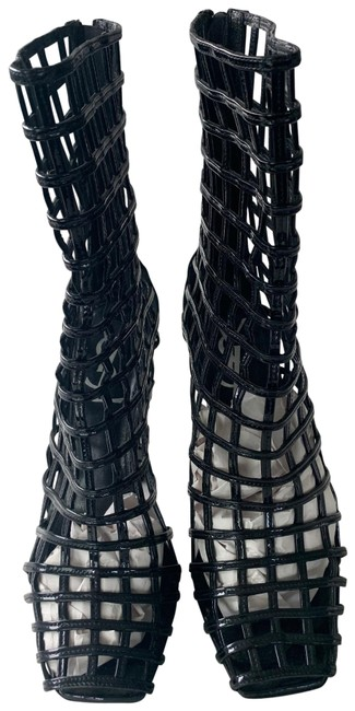 Item - Black Ysl Patent Leather Cage Boots/Booties Size EU 37 (Approx. US 7) Regular (M, B)
