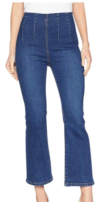 Item - Blue Dark Rinse High Waisted Pull On Flare Leg Jeans Size 0 (XS, 25)