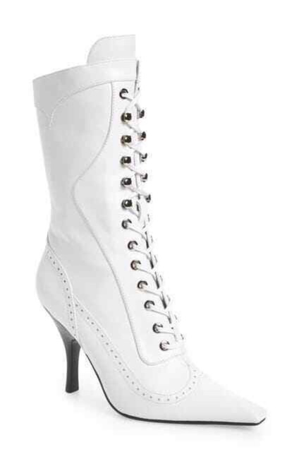Item - White Grandmère Pointed Toe Leather Lace Up Boots/Booties Size US 7 Regular (M, B)