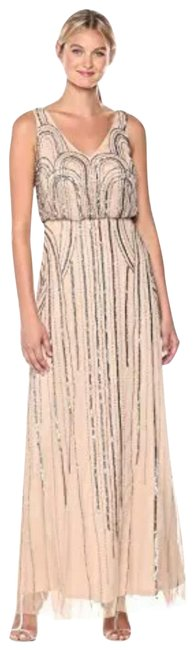Item - Taupe/Pink Gown Art Nouveau Beading Long Formal Dress Size 2 (XS)