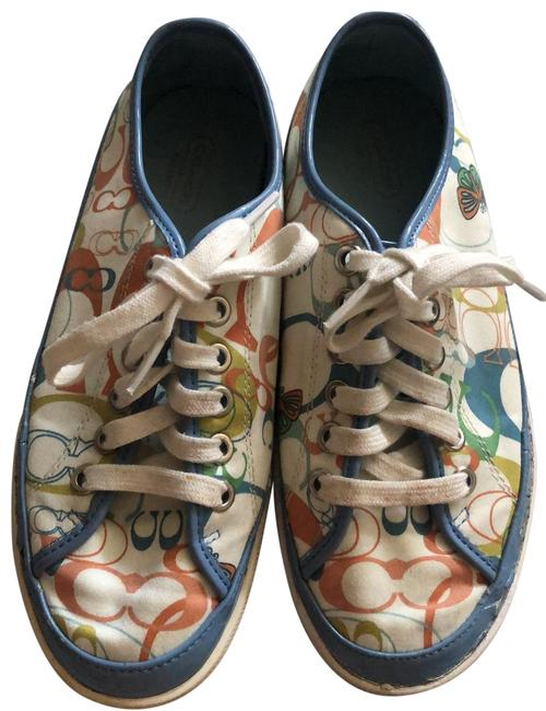 Item - Ivory with Blue Trim C and Butterfly Print Sneakers Size US 7 Regular (M, B)