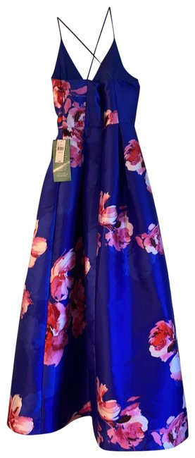 Item - Blue with Pink Flowers 1138c09 Long Formal Dress Size 4 (S)