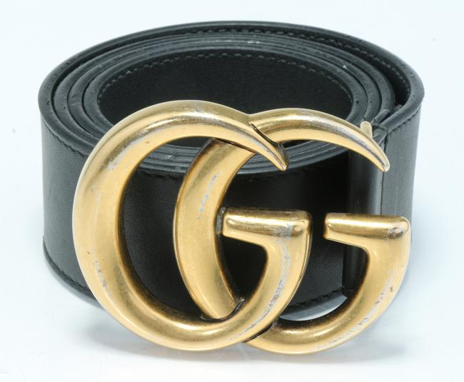 Item - Black Marmont Gg Leather Belt with Shiny Buckle Men's Jewelry/Accessory