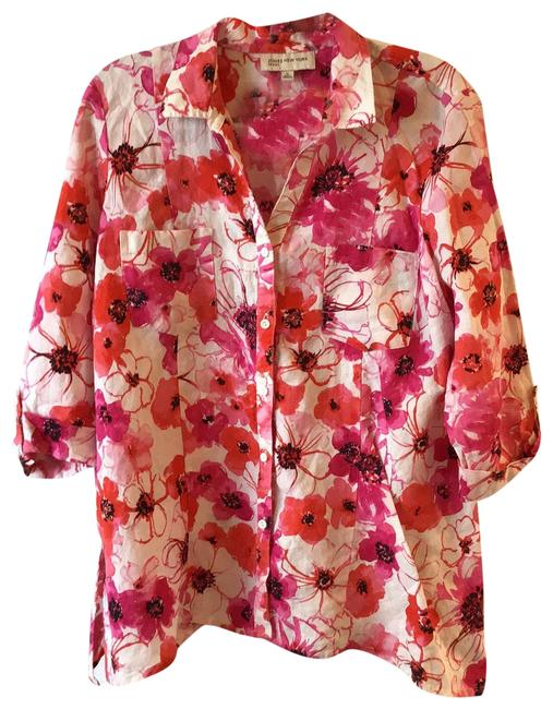 Item - Floral. Hot Pink White Black and Poppy Red. Tunic Size 16 (XL, Plus 0x)