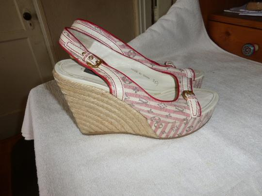 Louis Vuitton WHITE & PINK Wedges Image 4