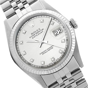 Rolex Rolex Datejust Silver Diamond Watch 36mm