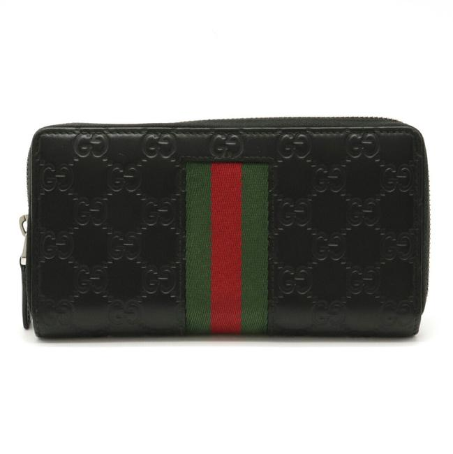 Item - Black / Green / Red Color Shima New Web Round Zipper Leather 408831 Wallet