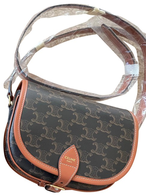 Item - Medium Folco In Triomphe Canvas And Brown Calfskin Leather Cross Body Bag