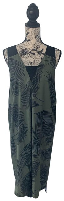 Item - Green Active Palm Leaf Mid-length Short Casual Dress Size 12 (L)