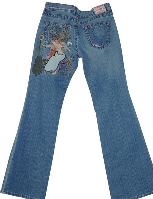 Item - Blue Patched Medium Wash Lady Godiva Peacock Embroidered Joey Boot Cut Jeans Size 30 (6, M)