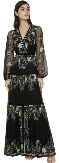 Item - Black & White Lily Embroidered Tulle Long Night Out Dress Size 6 (S)