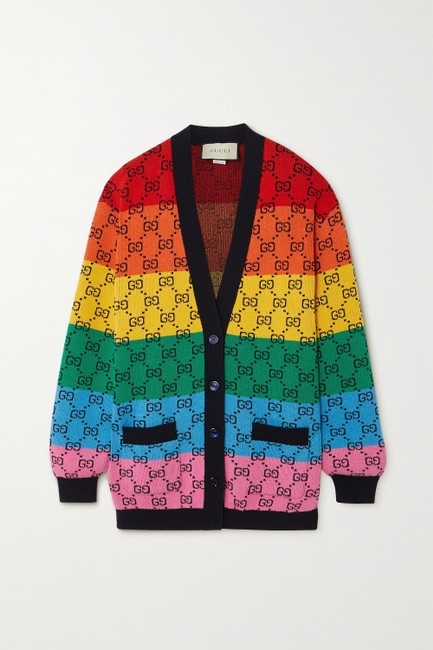 Item - Multi Color Striped Intarsia Wool-blend Cardigan Size 4 (S)