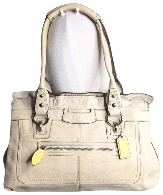 Item - Carry All East West Penelope Pebbled Satchel White Leather Cross Body Bag