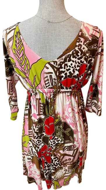 Item - Brown Floral Long Sleeve Short Casual Dress Size 8 (M)