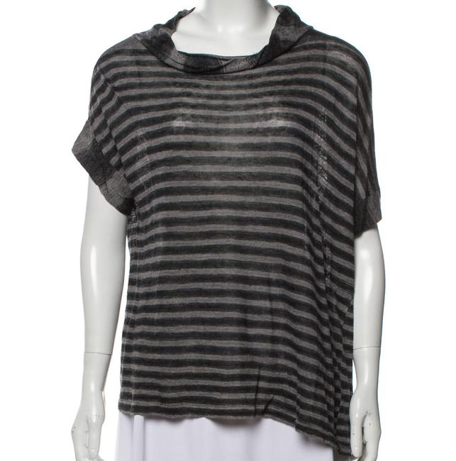 Item - Charcoal Gray Striped Cowl Neck T-shirt Tee Shirt Size 12 (L)