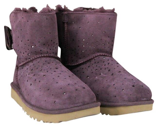 Item - Port Purple Stargirl Bow Mini Size-8 Suede Pull On Fur Lined Boots/Booties Size US 8 Regular (M, B)