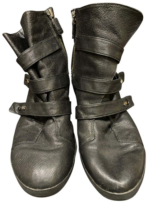 Item - Black Leather Booties Wedges Size US 11 Wide (C, D)