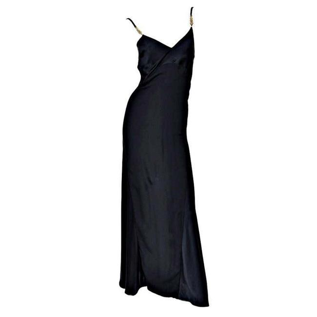 Item - Black Gianni Couture Vintage Silk Gown with Swarovski Crystals Long Night Out Dress Size 4 (S)