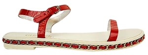 Chanel Leather Open Red Sandals