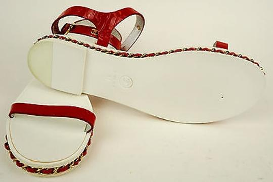 Chanel Leather Open Flats Red Sandals