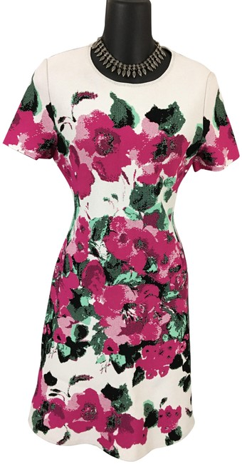 Item - White Pink Green Multi Mid-length Formal Dress Size 4 (S)