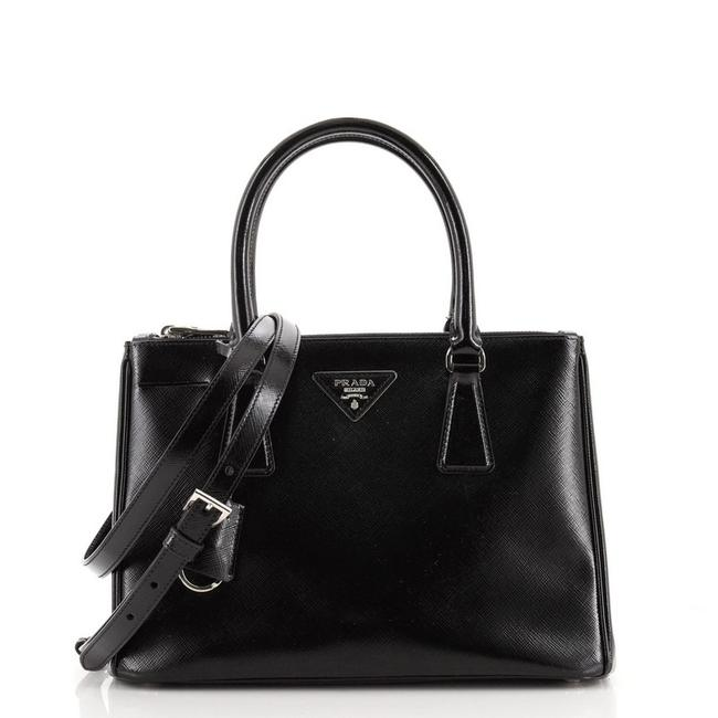 Item - Double Lux Zip Vernice Saffiano Small Black Patent Leather Tote