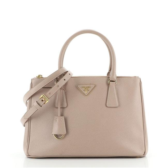 Item - Double Lux Zip Saffiano Small Pink Leather Tote