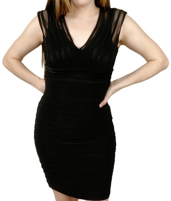 Adrianna Papell Black Short Cocktail Dress Size 4 (S) Adrianna Papell Black Short Cocktail Dress Size 4 (S) Image 1