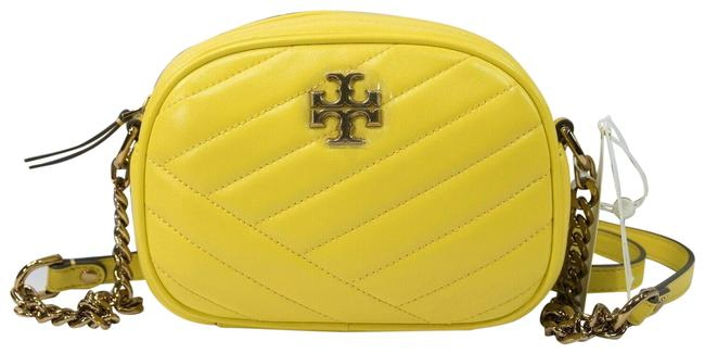 Item - Kira Goldfinch Chevron Quilted Small Yellow Lambskin Leather Cross Body Bag