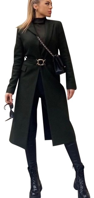 Item - Green Belted Buckle Wool Coat Size 4 (S)