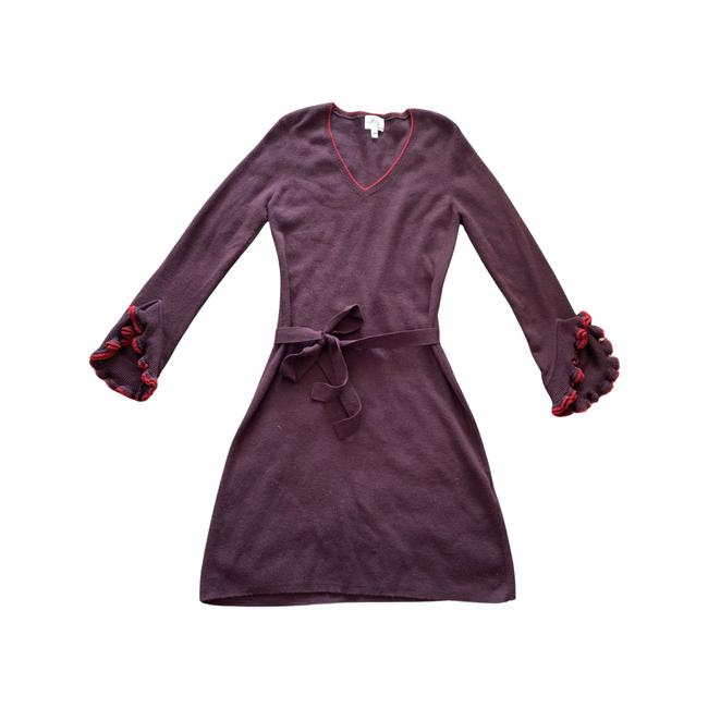 Item - Burgundy L V Neck Long Ruffle Sleeves Wool Mid-length Cocktail Dress Size 12 (L)