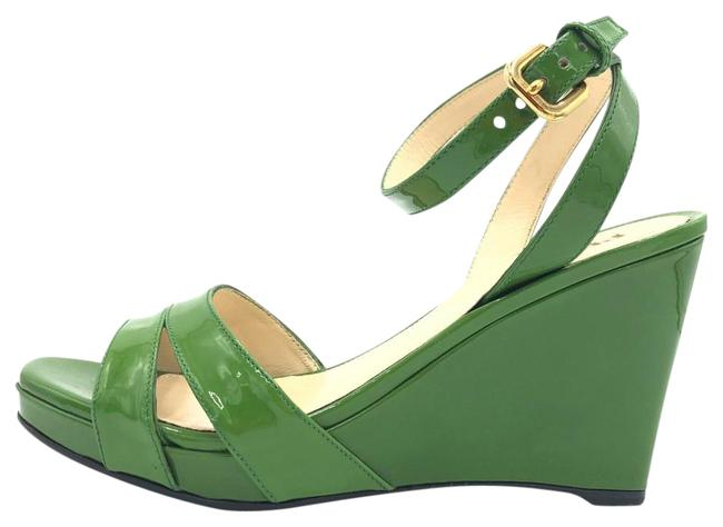 Item - Green Patent Leather Ankle Strap #35259 Wedges Size EU 36.5 (Approx. US 6.5) Regular (M, B)