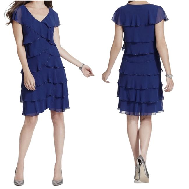 Item - Blue Embellished Navy Tiered Casual Maxi Dress Size 10 (M)