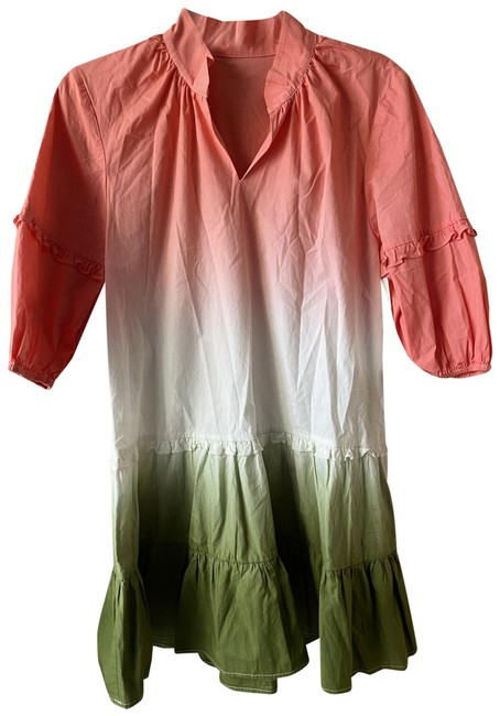 Item - Coral White Green New Cotton Tie Dye Shift Small Short Casual Dress Size 4 (S)