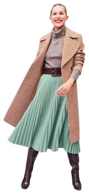 Item - Blue Raindrop Pleated Croc Faux Leather Green Skirt Size 8 (M, 29, 30)