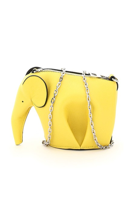 Item - Elephant Pouch with Chain Yellow Leather Clutch