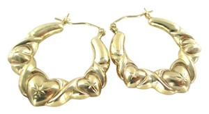10KT YELLOW GOLD EARRINGS HOOPS THREE HEARTS DESIGN 2.7 GRAMS FINE JEWELRY LOVE