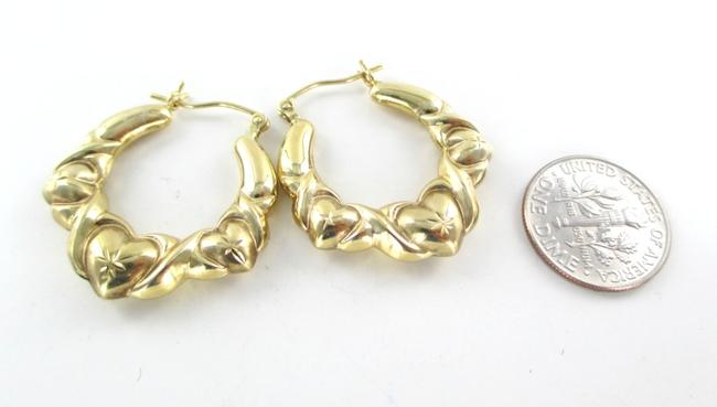 Gold 10kt Yellow Hoops Three Hearts Design 2.7 Grams Fine Love Earrings Gold 10kt Yellow Hoops Three Hearts Design 2.7 Grams Fine Love Earrings Image 2
