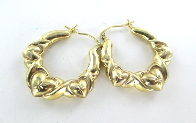 Gold 10kt Yellow Hoops Three Hearts Design 2.7 Grams Fine Love Earrings Gold 10kt Yellow Hoops Three Hearts Design 2.7 Grams Fine Love Earrings Image 3