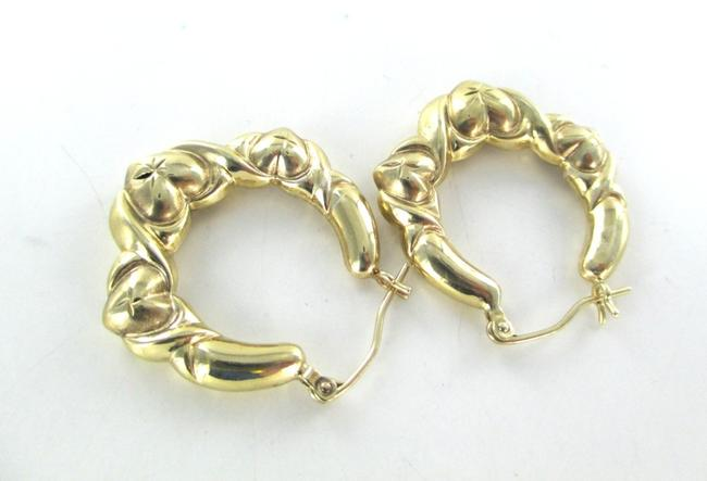 Gold 10kt Yellow Hoops Three Hearts Design 2.7 Grams Fine Love Earrings Gold 10kt Yellow Hoops Three Hearts Design 2.7 Grams Fine Love Earrings Image 5