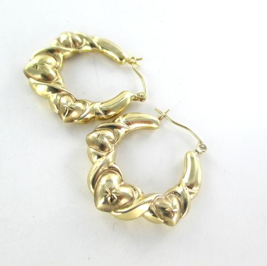 Other 10KT YELLOW GOLD EARRINGS HOOPS THREE HEARTS DESIGN 2.7 GRAMS FINE JEWELRY LOVE Image 5