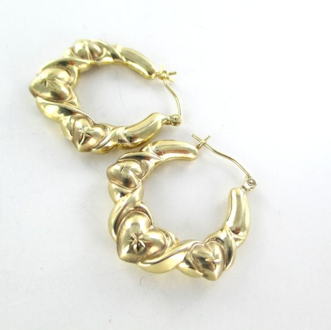 Gold 10kt Yellow Hoops Three Hearts Design 2.7 Grams Fine Love Earrings Gold 10kt Yellow Hoops Three Hearts Design 2.7 Grams Fine Love Earrings Image 6