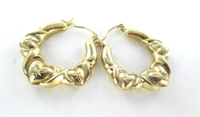 Gold 10kt Yellow Hoops Three Hearts Design 2.7 Grams Fine Love Earrings Gold 10kt Yellow Hoops Three Hearts Design 2.7 Grams Fine Love Earrings Image 7