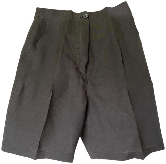 Item - Dk Olive Green Classic Linen Made In Italy Shorts Size 4 (S, 27)