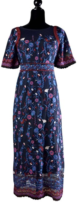 Item - Blue Mehreen Embroidered Mesh Midi New 0 Mid-length Formal Dress Size 0 (XS)