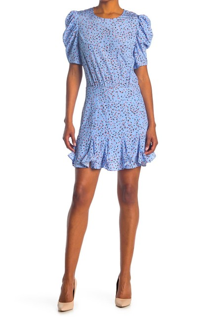 Item - Blue Multi with Tag Lila Floral Gathered Short Cocktail Dress Size 10 (M)