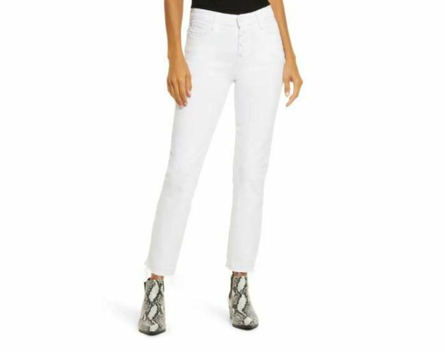 Item - White Light Wash Cindy Crop Exposed Buttons Straight Leg Jeans Size 27 (4, S)