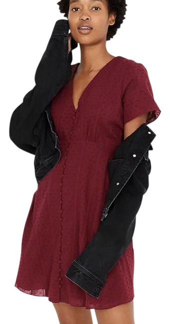 Item - Burgundy Button-front Swing Short Casual Dress Size 0 (XS)